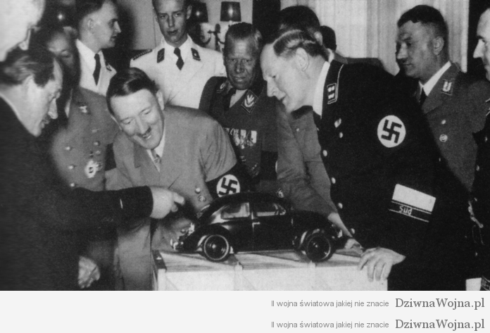 Ferdinand Porsche introduces a prototype of the VW Beetle to Hitler, 1930s