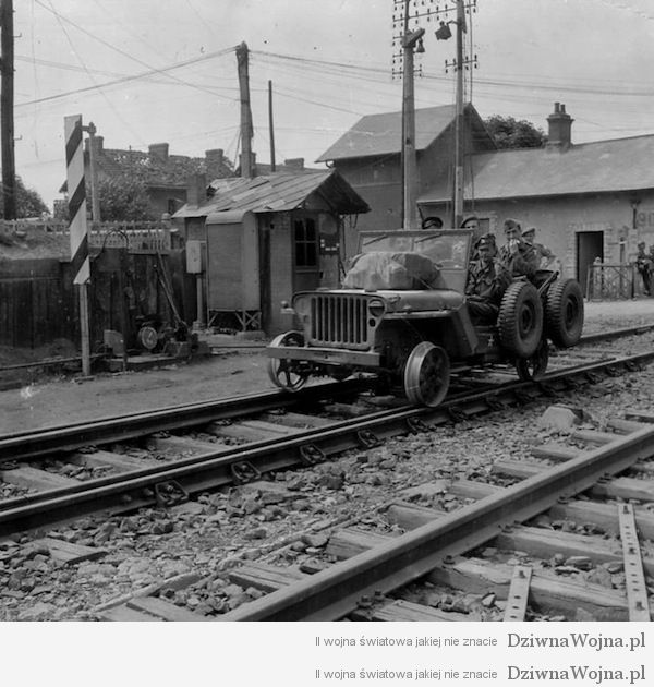 Kolejowy jeep Willys Francja 1944