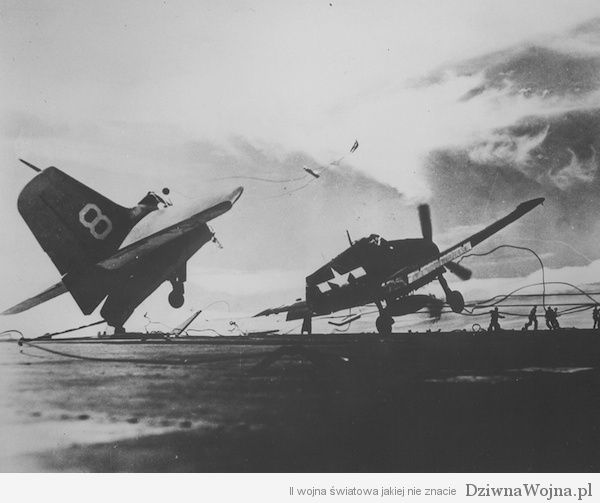 Grumman F6F-5P Hellcat of Fighter Squadron VF-23 crashes while landing on the deck of aircraft carrier USS Princeton