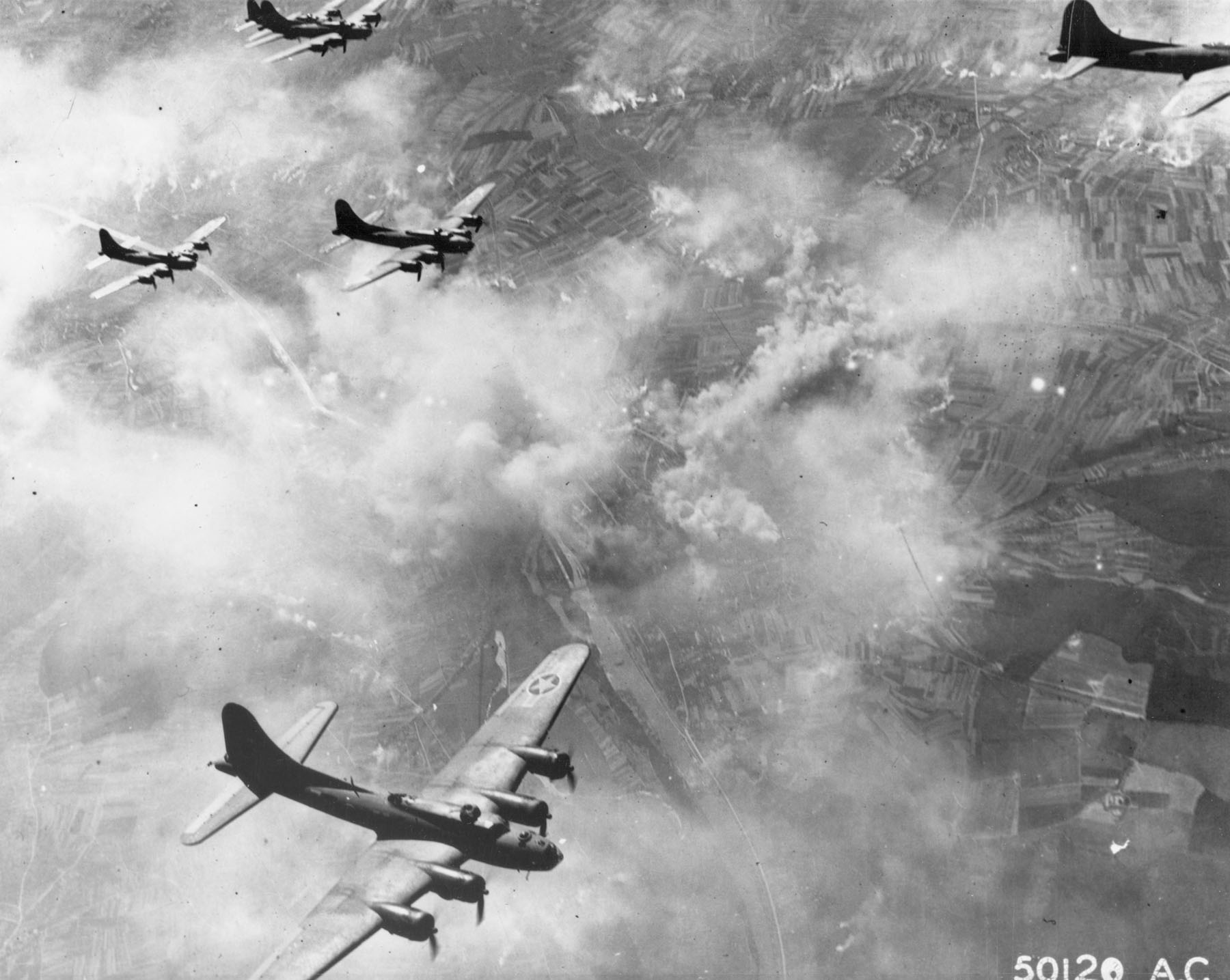 Boeing B-17F formation over Schweinfurt, Germany, on Aug. 17, 1943. (U.S. Air Force photo)