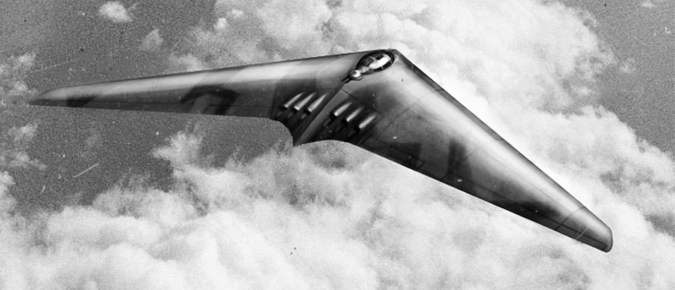 Projekt niemieckiego bombowca dalekiego zasięgu HO XVIII, przedstawiony przez braci Horten. Maszyna miała służyć Luftwaffe do przeprowadzania nalotów na terytorium USA (fot. Wikimedia Commons / )
